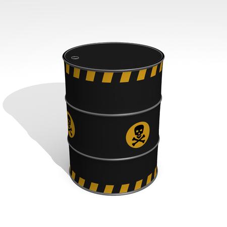 black barrel of toxic products - 3D Illustration Foto de archivo - 120334186