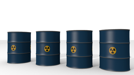blue barrels of radioactive waste - 3D Illustration