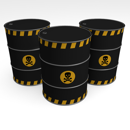black barrels of toxic products - 3D Illustration Foto de archivo - 120334299