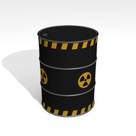 black barrel of radioactive waste - 3D Illustration
