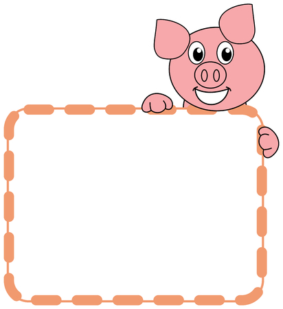 a smiling and happy pig with a panel of sausages
