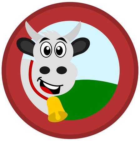 a cow with bell in a red logo with a meadow and sky