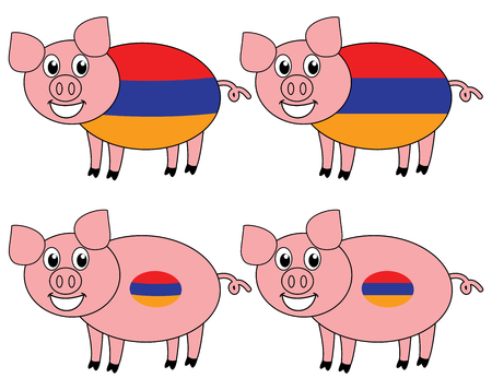 a smiling and happy pig raised in Armenia  イラスト・ベクター素材