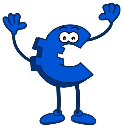 the euro sign in blue colour raising the arms Foto de archivo - 120334411