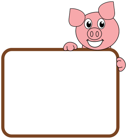 a smiling and happy pig with a billboard