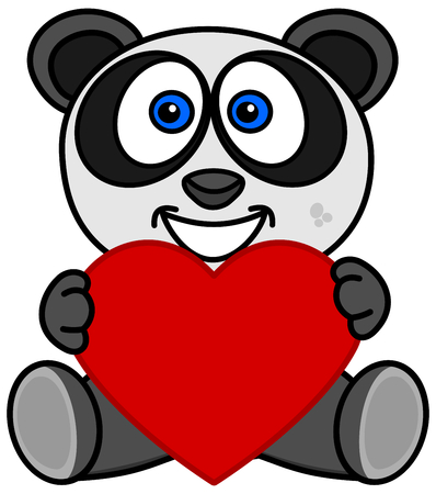 a smiling panda happy to have received a heart as a gift