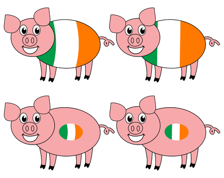 a smiling and happy pig raised in Ireland Çizim