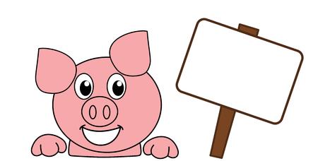 a smiling and happy pig's head with a billboard Illusztráció