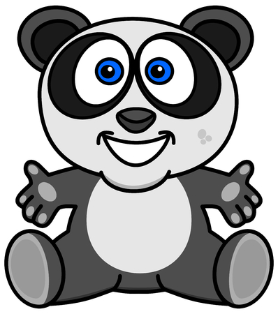 a smiling and happy panda with open arms
