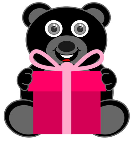a black teddy bear happy to receive a gift