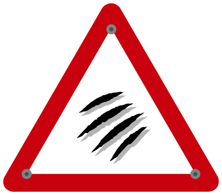 a danger sign warning of a wild animal that may cause scratches and fatal bites