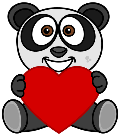 a smiling panda happy to have received a heart as a gift Foto de archivo - 120334438