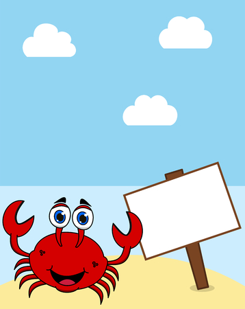a crab on a desert island under a blue sun with a display panel Foto de archivo - 120334442