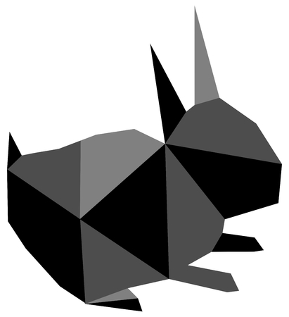 a polygonal work representing a black and white rabbit