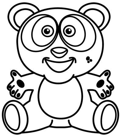 a smiling and happy panda in black and white with open arms for colouring Foto de archivo - 120334460