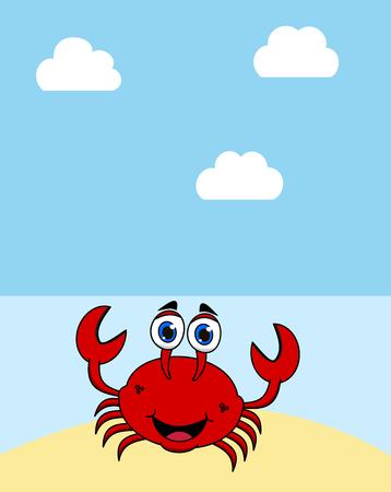 a crab on a desert island under a blue sun