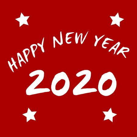 happy new year 2020 under a red starry background Foto de archivo - 120334493