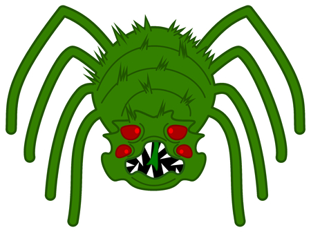 a green and very scary spider
