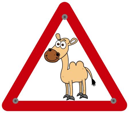a yellow camel in a danger sign Foto de archivo - 120334497