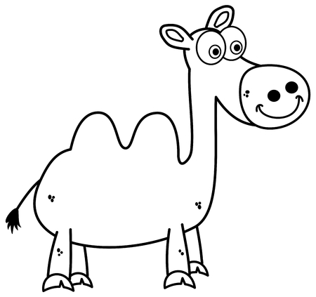 a black and white camel standing and smiling for colouring