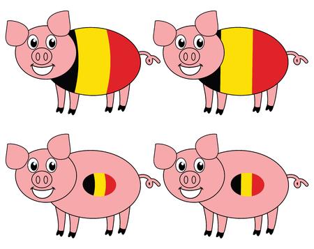 a smiling and happy pig raised in Belgium Çizim