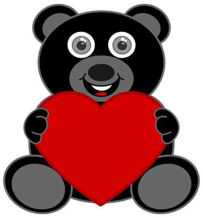 a black teddy bear happy to receive a heart Foto de archivo - 120334513