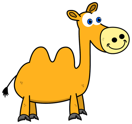 a yellow camel standing and smiling