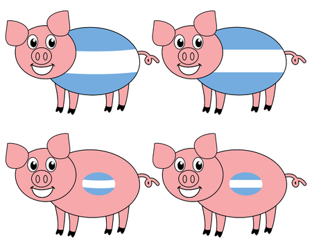a smiling and happy pig raised in Argentina Çizim