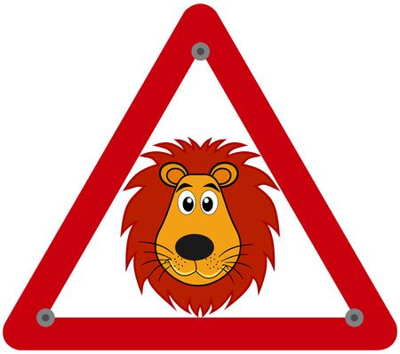 a danger sign warning of a lion