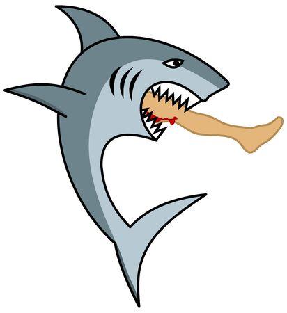 A dangerous shark eating a mans leg Illusztráció