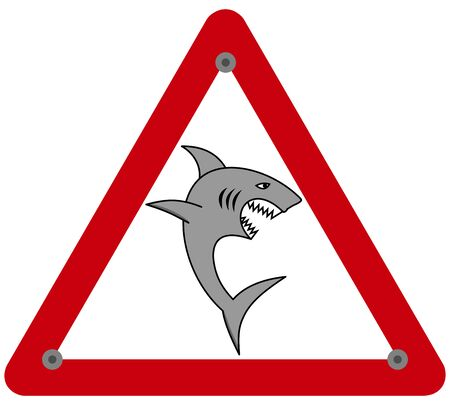 A large shark with an open jaw and sharp teeth in a danger sign