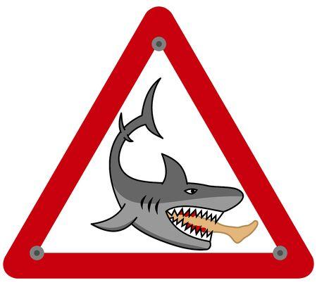 A dangerous shark eating a mans leg in a danger sign