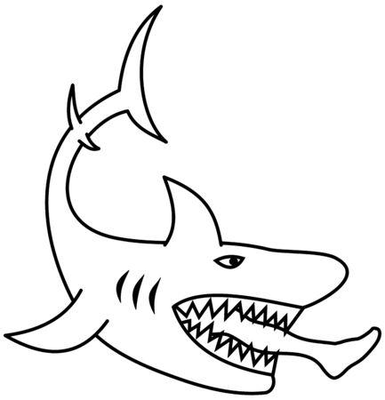 A dangerous shark eating a mans leg for coloring