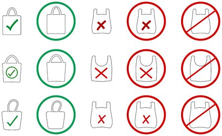 Set of images and icons with plastic and ecological bag