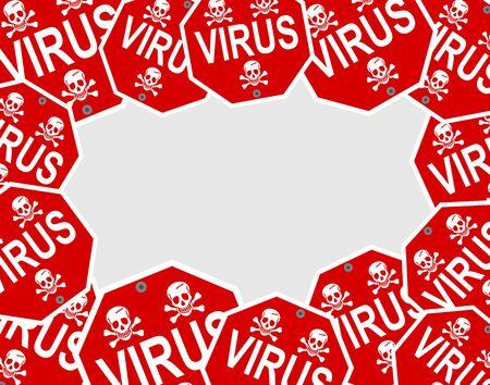 Virus pattern with danger sign and skull Stock Illustratie