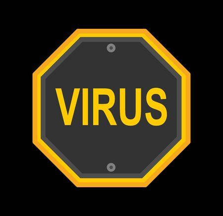 Virus icon yellow warning sign on black Stock Illustratie