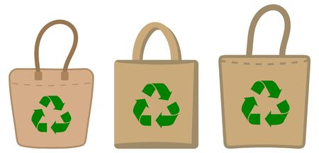set of images and icons with ecological bag and fabric Ilustração