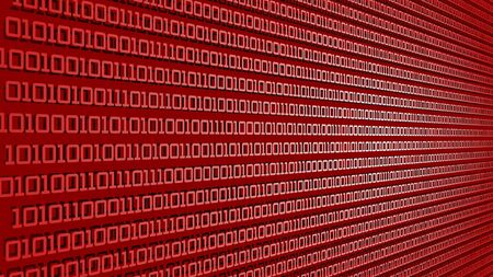 cyberspace concept with data and red numbers - 3D Illustration Stockfoto