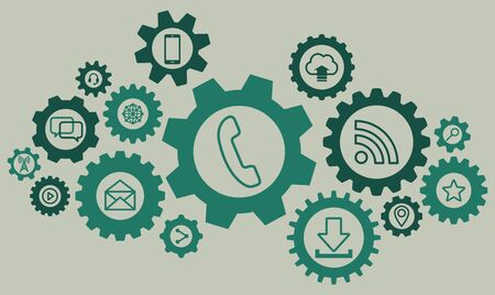 Ensemble de roue dentée représentant le service de réseau de communication Internet Vecteurs