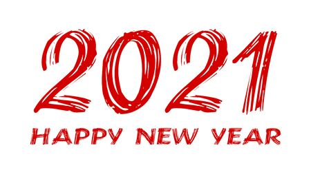 bloody horror-like illustration of a happy new year 2021 red text on a white background