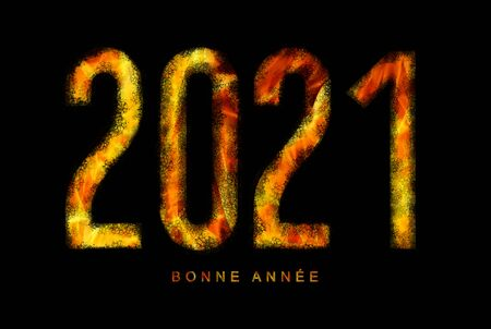 illustration of a happy new year 2021 text in the fire of hell for a catastrophic and apocalyptic theme on a black background