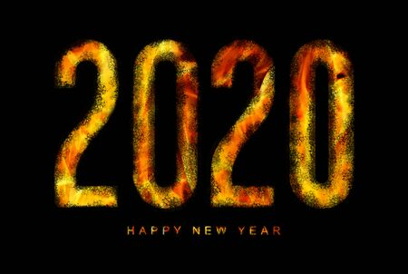 illustration of a happy new year 2020 text in the fire of hell for a catastrophic and apocalyptic theme on a black background