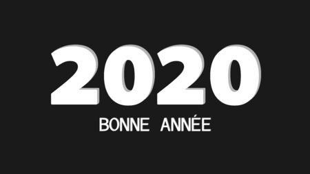 simple illustration of a good year 2020 white text on a black background Stockfoto