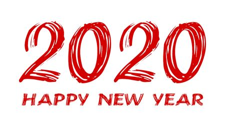 bloody horror-like illustration of a happy new year 2020 red text on a white background