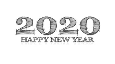 illustration of the artist sketch type wishing a happy new year 2020 with grey text on a white background
