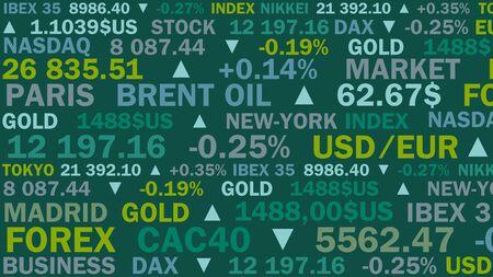 indice boursier et taux réels avec une nuance verte