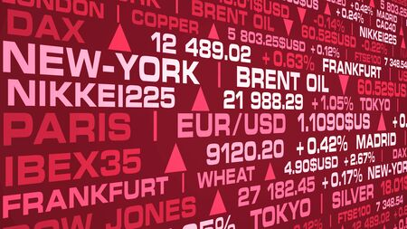 stock market index and real rates with a red shade Stockfoto