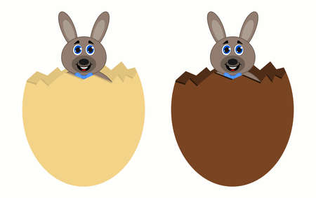 two beautiful bunnies with bow ties, coming out of chocolate eggs for the Easter party 矢量图像