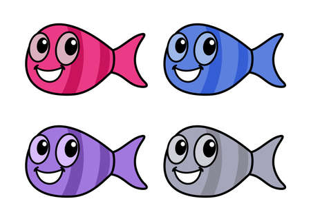 smiling fish caught in the sea with colorful for fish shop