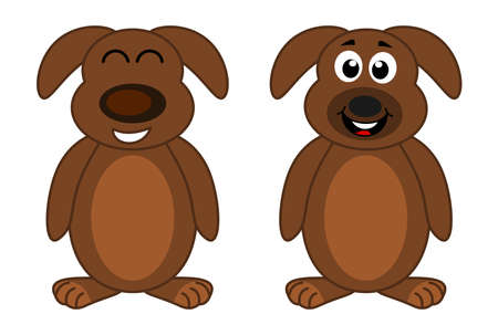 a puppy with two smiling faces and very happy standing in brown colour